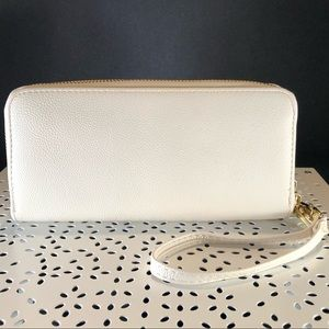 White Leather Wallet - Multiple Pockets - Target